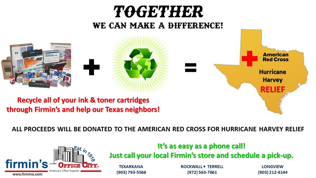 It s easy to find the office supplies copy paper furniture ink - Recycle Your Toners To Help With Hurricane Harvey Relief